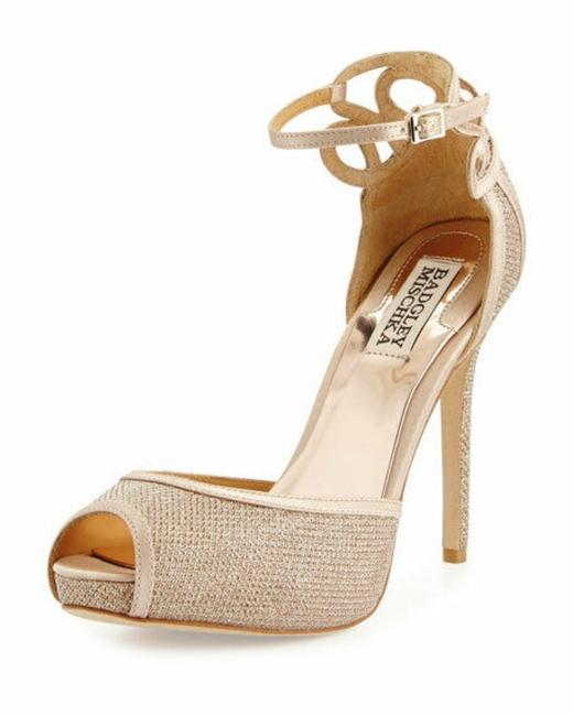 Item - Tan Latte Platform Peep Toe Ankle Strap Sandal Glitter Pumps Size US 9 Regular (M, B)