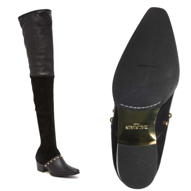 Item - Black with Gold Detail Billie Leather Thigh High Heel Boots/Booties Size US 9 Regular (M, B)