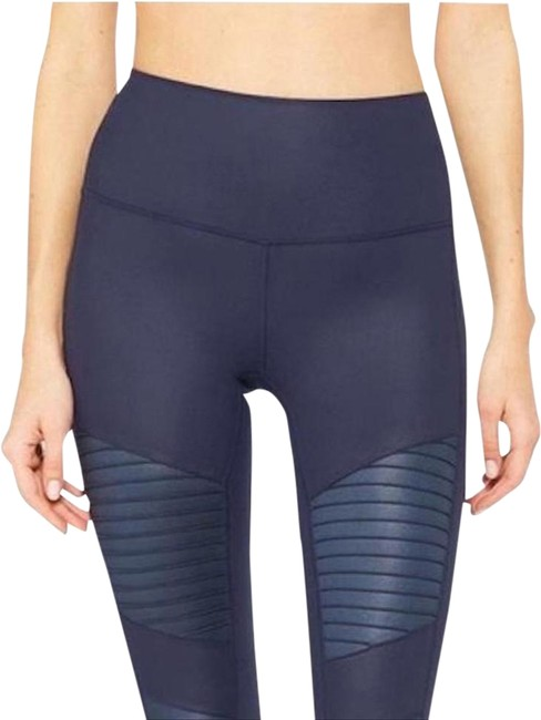Item - Navy High Waisted Moto In Activewear Bottoms Size 2 (XS, 26)