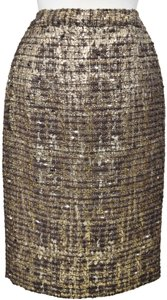 Alice + Olivia Tweed Woven Pencil Skirt Brown & Gold