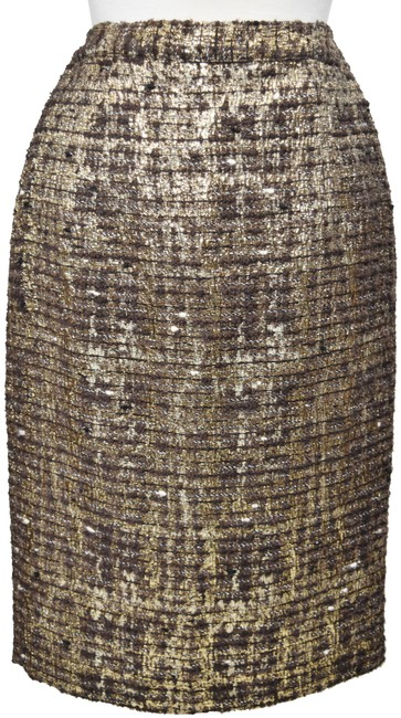 Item - Brown & Gold Tweed Skirt Size 4 (S, 27)