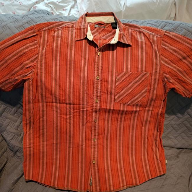 Item - Red with Brown Stripes Button-down Top Size 16 (XL, Plus 0x)