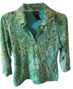 INC International Concepts Paisley Lime Fun Print Top Teal and Green