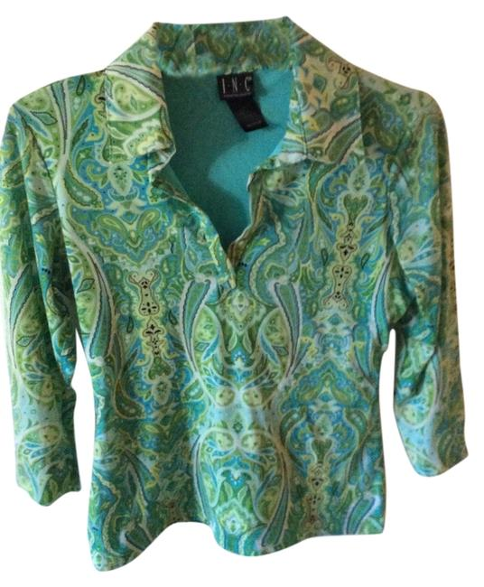 INC International Concepts Paisley Lime Fun Print Collar Work Wear Easy To Wash Top Teal and Green