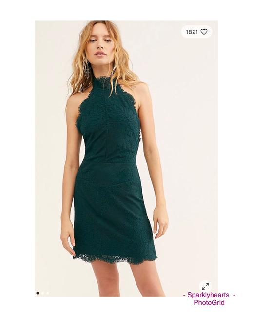 Item - Green Bodycon High-neck Mesh Lace Short Cocktail Dress Size 12 (L)