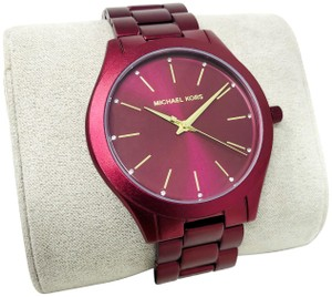 Michael Kors NEW Slim Runway Three-Hand Berry Aluminum Watch MK4505