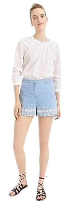 Item - Blue Chambray with Embroidered Scalloped Trim Shorts Size 0 (XS, 25)