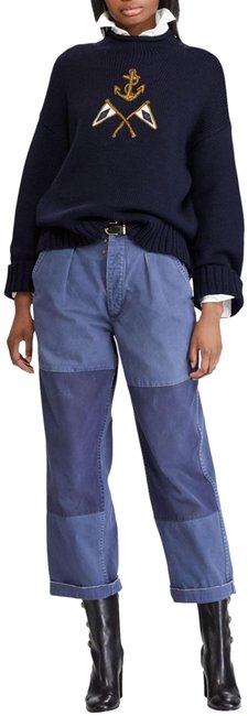 Polo Ralph Lauren Blue Navy Baggy Calvary Patched Cotton Twill Leg Style No. 211717766001 Capri/Cropped Jeans Size 32 (8, M) Polo Ralph Lauren Blue Navy Baggy Calvary Patched Cotton Twill Leg Style No. 211717766001 Capri/Cropped Jeans Size 32 (8, M) Image 1