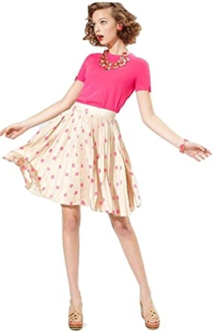 Item - Cream and Pink Polka Dot Melody Pleated Skirt Size 0 (XS, 25)