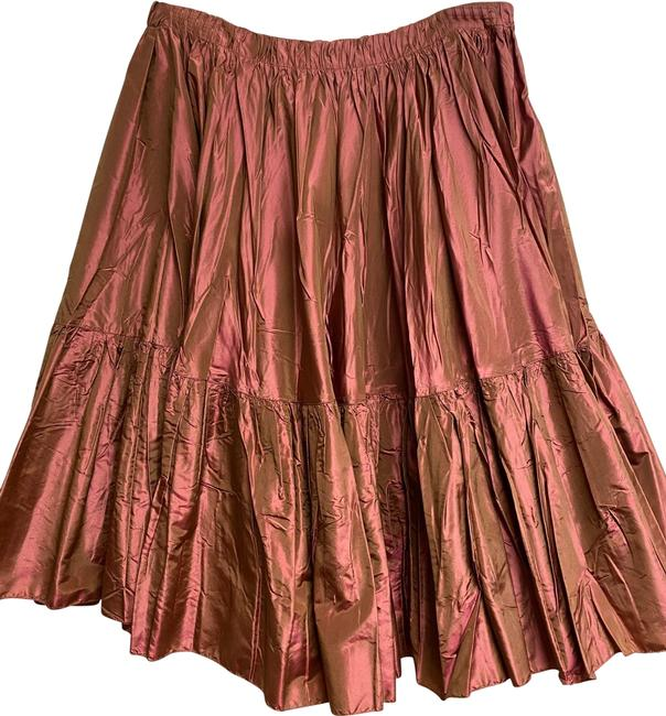 Item - Pink/Gold Iridescent Pleat Flounce Skirt Size 2 (XS, 26)
