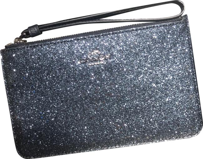 Item - Corner Zip F38641 Boxed Small with Star Glitter Midnight/Silver Leather Wristlet