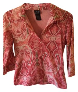 INC International Concepts Paisley Collar Easy To Wash Top Pink and White