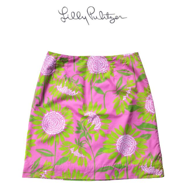 Item - Pink and Green Sunflower Print Skirt Size 4 (S, 27)