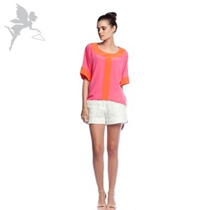 Annie Griffin Silk Boxy Trina Turk Neon Bright Top Pink and Orange