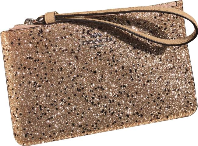 Item - Corner Zip F38641 Boxed Small with Star Glitter Gold/Silver Leather Wristlet