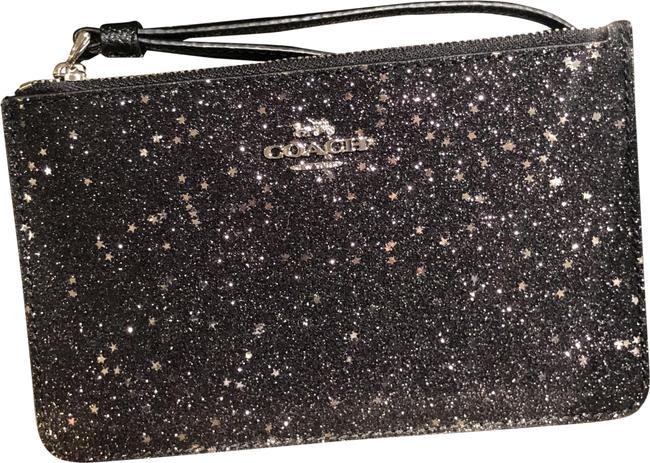 Item - Corner Zip F38641 Boxed Small with Star Glitter Black/Silver Leather Wristlet