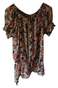 Other Floral Asymmetrical Garhered At Waist Flirty Print Top Pink