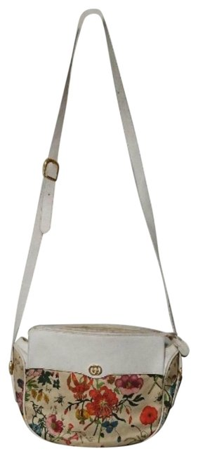 Item - Garden Souvenir Style Shoulder/Cross Body Colorful Flower Print/White Leather and Canvas Hobo Bag
