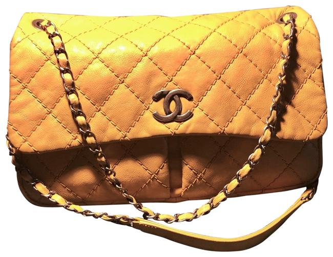 Item - Classic Jumbo Flap with Dual Pockets In Bright Yellow and Silver Lambskin Leather Shoulder Bag