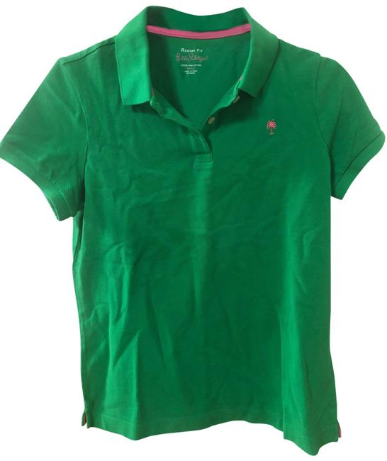 Item - Emerald Green W Pink Accents Logo Crew Neck Tee with Buttons Button-down Top Size 6 (S)