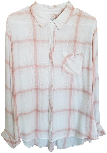 Item - White and Salmon Button-down Top Size 4 (S)