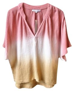 Young Fabulous & Broke V-neck Hi-low Hem Ombre Wide Sleeves Fringed Hems Top Cream Pink