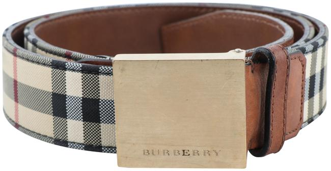 Item - Tan Horseferry Check with Plaque Buckle Belt