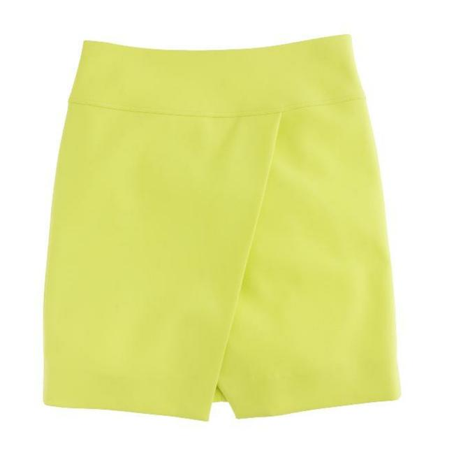 Item - Neon Yellow Crossover Wrap Skirt Size 4 (S, 27)