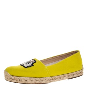 Christian Louboutin Canvas Embroidered Yellow Flats
