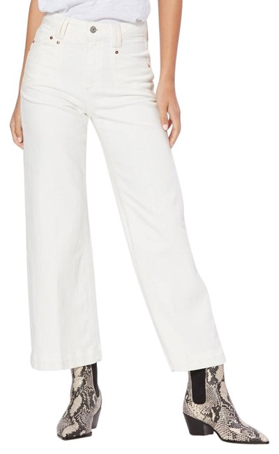 Paige Cream Light Wash Annesa Ecru Trouser/Wide Leg Jeans Size 25 (2, XS) Paige Cream Light Wash Annesa Ecru Trouser/Wide Leg Jeans Size 25 (2, XS) Image 1