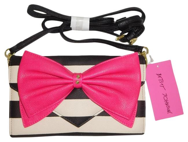 Item - White/ Cream Striped Fuchsia Bow Cross Body Wallet