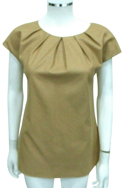 Charlotte Brody Camel W Wool Blend W/Pleated Neckline It 38 Blouse Size 2 (XS) Charlotte Brody Camel W Wool Blend W/Pleated Neckline It 38 Blouse Size 2 (XS) Image 1