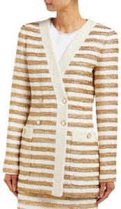 Alessandra Rich Striped Double Breasted Jacket Tweed Gold Blazer