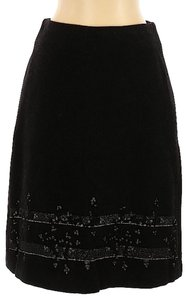 Tocca Felted Wool Foil Print Usa Skirt Black