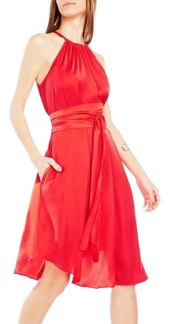 Item - Orange Red Britan Belted Satin Mini Short Night Out Dress Size 4 (S)