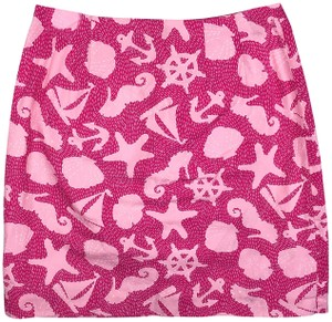 Lilly Pulitzer Pencil Nautical Ocean Tropical Seahorse Starfish Skirt Pink