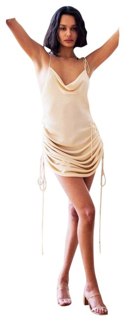Item - Champagne Drawstring Mid-length Night Out Dress Size 2 (XS)