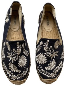 Soludos navy blue and white Flats