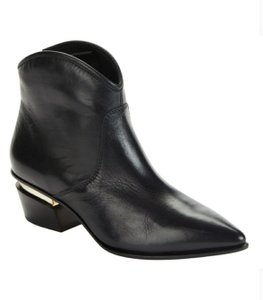 Donna Karan Black Leather Gold Accent Boots