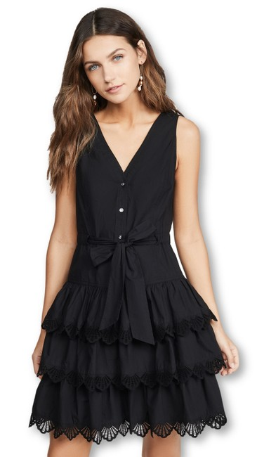 Item - Black Shell Embroidered Short Night Out Dress Size 12 (L)