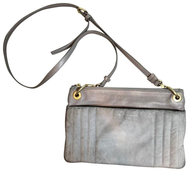 Item - Suede And Gray Leather Cross Body Bag
