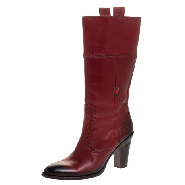 Item - Red Burgundy/Black Leather Mid Calf Boots/Booties Size EU 40.5 (Approx. US 10.5) Regular (M, B)