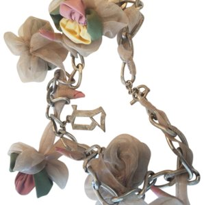 John Galliano Galliano vintage roses necklace with fabric rosettes