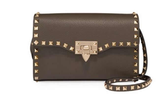 Item - Rockstud Leather Charcoal Grey Cross Body Bag