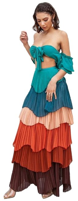 Item - Multi-color Tiered Two Piece Set Long Night Out Dress Size 6 (S)