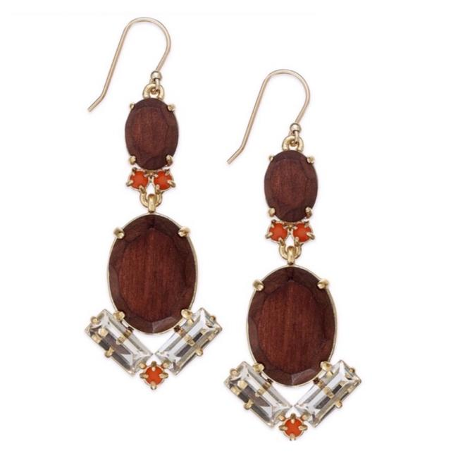 Item - Brown/Gold • Wood Stone & Beads Earrings