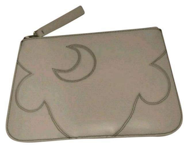 Item - White Clutch Moon Pouch with Oversized Cosmetic Bag
