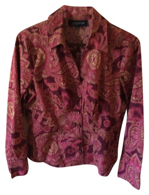 Jones New York Paisley Reds Chic Office Wear Structured Tailored Nwot Top Purple