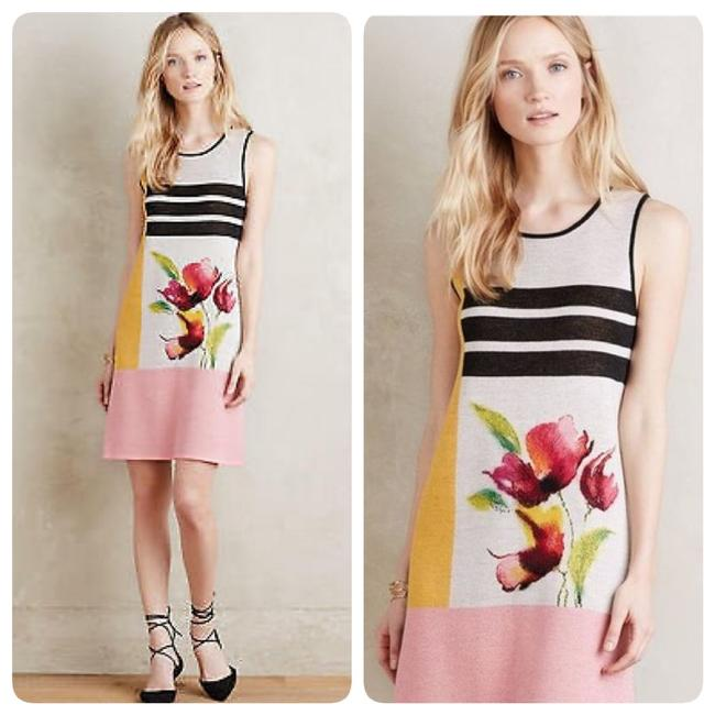 Item - Pink Black Petale Mid-length Short Casual Dress Size 8 (M)