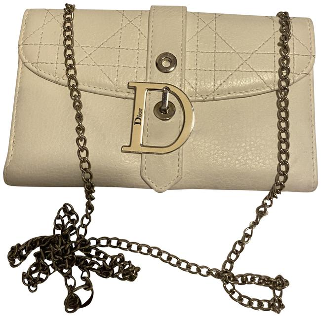 Item - Logo Pouch On Chain White Lambskin Leather Cross Body Bag